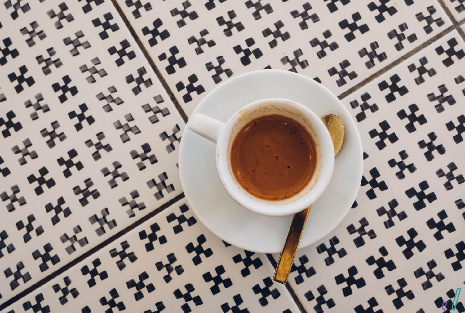 top-down look at espresso against tiled countertop